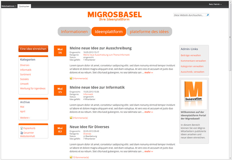 "Design Intranet ""MIGROS"" (SharePoint 2010)"